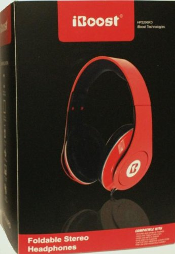 Red Iboost Pro Studio Dj Style Stereo Headphone