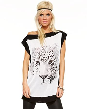 Panther Printed Sweater Tunic :  cat tee tshirt print