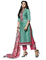 Suchi Fashion Turquoise And Peach Embroidery Pure Banarsi Chanderi Straight Fit Semi Stitched Suit With Printed...
