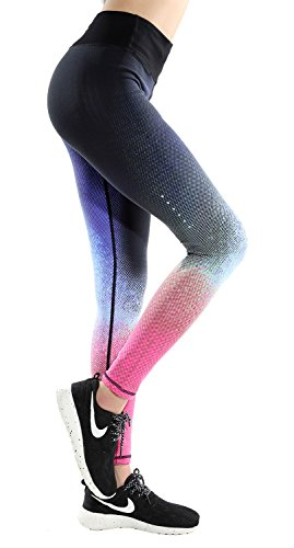 Women's Compression Mid-rise Ombre Color Running Tights Fitness Legging Pant 01S