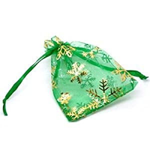 5 x Organza Gift Bags, Green with Gold Snowflakes ...