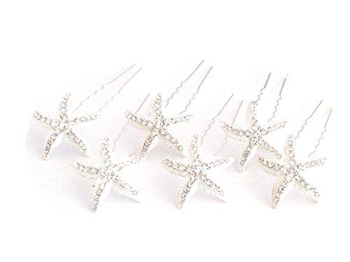 Crystal Starfish Hair Pins Evening Cocktail Party Beach Wedding Set of 6 AMORE PROMISE