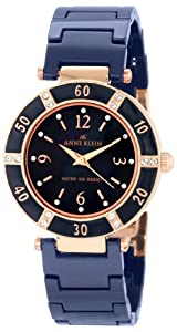 Anne Klein Women's 109416RGBL Swarovski Crystal Rose Gold-Tone and Blue Ceramic Bracelet Watch