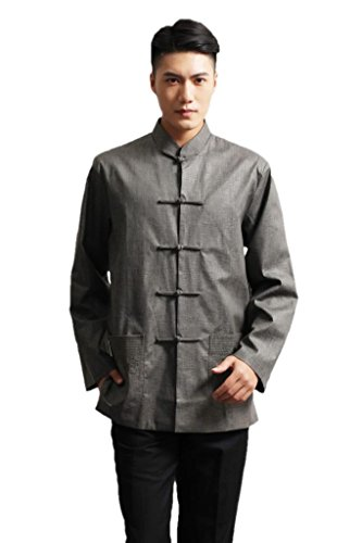 JTC Men Long Sleeve Kung Fu Tang Suit Top Chinese Coat Tai Chi Costume Dark Grey