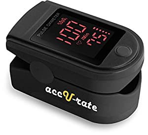 Acc U Rate® Pro Series CMS 500DL Fingertip Pulse Oximeter Blood Oxygen Saturation Monitor with silicon cover, batteries and lanyard (Mystic Black)