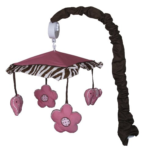 Great Musical Mobile for Pink Zebra Baby Bedding Set