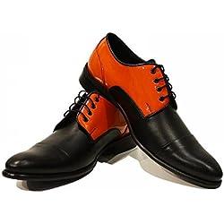 Orange & neri Pattini degli uomini eleganti - fatti a mano scarpe di cuoio italiane colorate Oxfords casuale formale Premium Unique Shoes regalo Lace Men Dress Up dell'annata delle