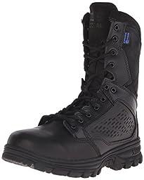 5.11 Men\'s Evo 8 Inch Side Zip Waterproof Tactical Boot, Black, 5 D(M) US