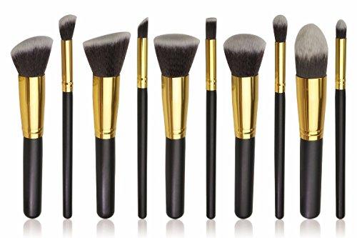 BS-MALL(TM) Premium Synthetic Kabuki Makeup Brush Set Cosmetics Foundation Blending Blush Eyeliner Face Powder Brush Makeup Brush Kit (10pcs, Golden Black)