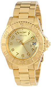 "Invicta Womens 15249 ""Pro Diver"" 18k Yellow Gold Ion-Plated Stainless Steel Watch"
