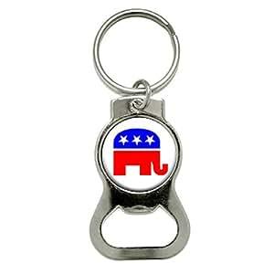 graphics and more republican elephant bottle cap opener keychain kb0113 bags. Black Bedroom Furniture Sets. Home Design Ideas