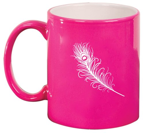 Pink Ceramic Coffee Tea Mug Peacock Feather