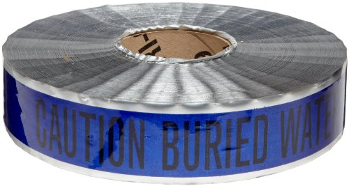 """Brady 91603 1000' Length, 2"""" Width, B-721 Metal Detectable Polyester, Black On Blue Color Detectable Identoline Warning Tape - Water, Legend """"Caution: Buried Water Line Below"""""""