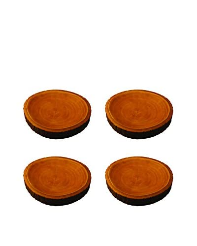 Be Home Set of 4 Small Mango Wood Plates with Bark, Brown