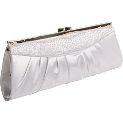Coloriffics Handbags Ruched Frame Clutch - White