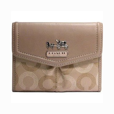 Coach Madison Dotted Signature Op Art Medium Wallet 44369 Khaki