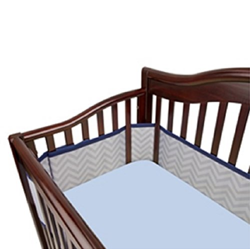 BreathableBaby 2014 Geo Boy Blue Chevron Stripes Crib Liner