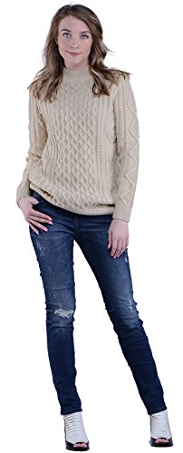Knit&love® Women's Mock-Neck Long Sleeve Loose Thick Cable Knit Pullover Sweater (M, Beige)