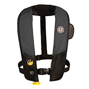 Mustang Deluxe Inflatable PFD with HIT (Auto-Hydrostatic), Black/Carbon