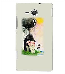 PrintDhaba Miss You Girl D-5895 Back Case Cover for SONY XPERIA SP (Multi-Coloured)