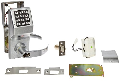 Alarm Lock Trilogy T2 200-User Weatherproof Electronic Digital Keypad Lock Single Cylinder Leverset With Schlage Interchangable Core, Satin Chrome Finish