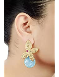 E-designs Rhodium / Gold Plated Earring With CZ Stone Alongwith Colour Stones Studded For Women - B00LM9TYBO