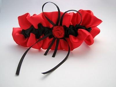 Strumpfband aus Satin in rot/ schwarz