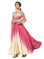 Shoppingover Bollywood Party Wear Anarkali Style Salwar Kameez in Georgette Fabric-Pink Color