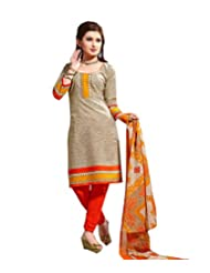 Sky Fashions Women's Multi Cotton Top Un-stiched Salwar Suit (SYFW0025)