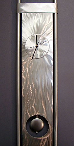 Silver Modern Metal Abstract Pendulum Wall Clock - Vortex 2 By Jon Allen
