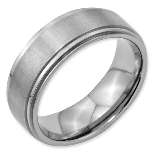 Titanium Ridged Edge 8mm Satin and Polished Band Ring Size 6 Real Goldia Designer Perfect Jewelry Gift for Christmas