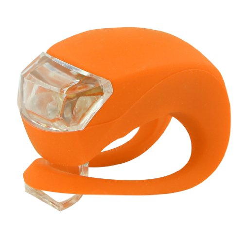 Techno Earth 2X Silicone Wrap-Around Band Led Bike Lights - Front & Rear - 2 Super-Bright Led - Lithium Wafer Batteries Included - Water Resistant - Rain Proof (Orange)