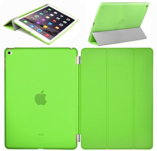 Swees® Smart Cover and Case posteriore per Apple iPad Air 2 / iPad 6 (2014 rilascio ottobre) Custodia Poliuretano slim più back cover Case Fronte Retro - Verde