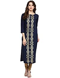 Ziyaa Blue Colour Boat Neck With 3/4 Sleeve Faux Crepe Foil Print Kurti