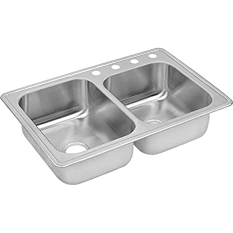 Elkay DXR250RS2 18 Gauge Stainless Steel Double Bowl Top Mount Kitchen Sink, 33 x 22 x 8""