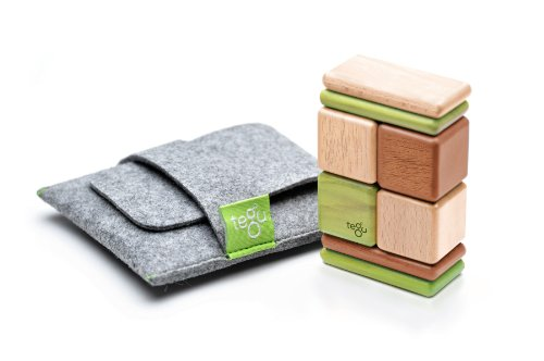 8 Piece Tegu Pocket Pouch Magnetic Wooden Block Set, Jungle