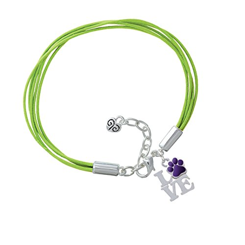 Love With Purple Paw Lime Green Leather Aruba Bracelet