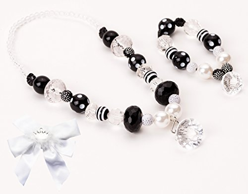 Little Adventure Black & White Diamond Kids Chunky Necklace & Bracelet with Bow
