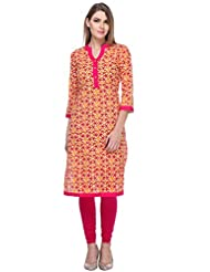 We-Desi Red Printed Kurta