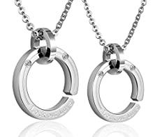 """buy Womens Mens Pendant Necklaces Stainless Steel Silver Double Ring Cz """"Lock Our Love"""" By Aienid"""