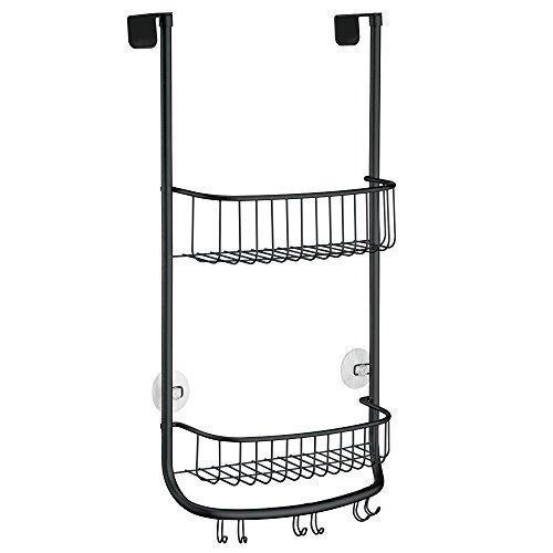 mdesign over the door bathroom shower caddy for shampoo conditioner soap razor 3 hooks. Black Bedroom Furniture Sets. Home Design Ideas