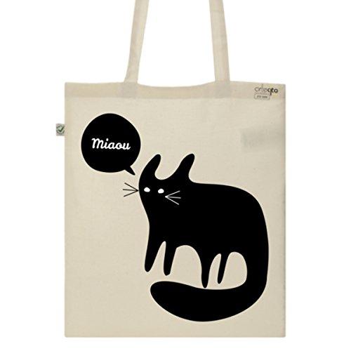 Tote-Bag-Imprim-Ecru-Toile-en-coton-bio-Chat-Noir-Miaou