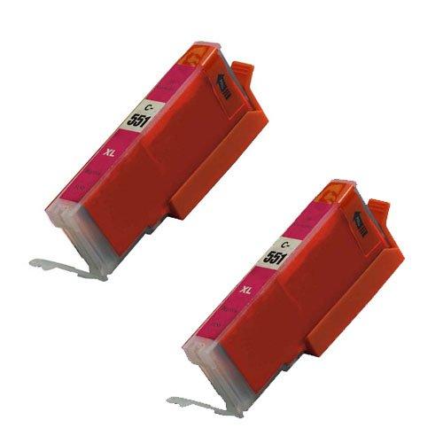 2 Stück, Magenta, CLI 551 High Capacity Kompatible Tintenpatronen für Canon Pixma iP7250 iP8750 iX6850,,, MG5650, MG5450, MG5550, MG6350, MG6450, MG7150, MG6650, MG7550, MX725, MX925