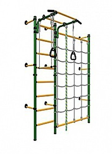 Kids Playground with Climbing Cargo Net / Indoor Wall Gym Training Sport Set with Trapeze Bar Swing, Climber, Climbing Rope, Jump Rope / Suit for Backyard, School and Playroom / Comet Next 3 (Green) (Climbing Net Cargo compare prices)