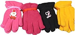 Four Pairs Mongolian Fleece Gloves for Ages 3-24 Months 1 with Monogram