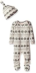 Burt's Bees Baby Organic Lap Shoulder Coverall and Knot Top Hat Set, Snowflake Fair Isle, 0-3 Months