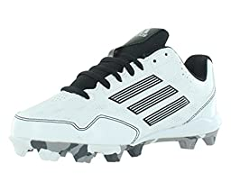 adidas Performance Wheel House 2 K Baseball/Softball Shoe (Little Kid/Big Kid), White/Black/Metallic/Silver, 2 M US Little Kid