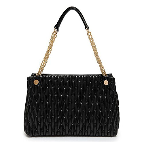 Fashion Pu Leather Clutch Cross-Body Shoulder Wristlet Handbag 0315438 (Black)
