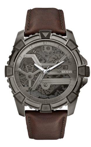 GUESS Men's U0274G1 Dynamic Brown Leather Watch