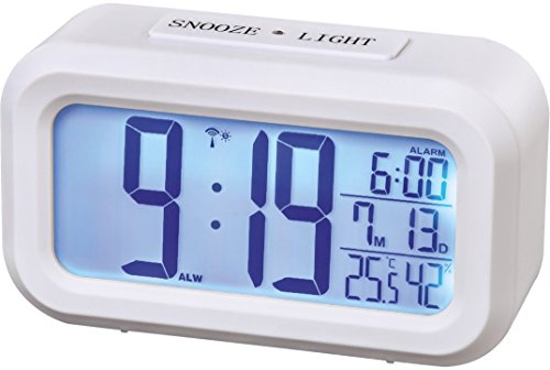 Funk Wecker (zwei Weckzeiten, Snooze, sensorgesteuertes Nachtlicht, Temperatur- und Datumsanzeige) weiß